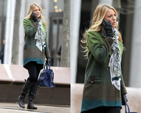 Blake Lively in Kaelen Ombre Jacket on Gossip Girl set