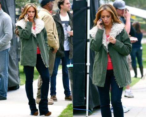 Jennifer Love Hewitt on set wearing Style Stalker Rebellion Parka
