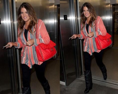 Khloe Kardashian wearing Twelfth Street By Cynthia Vincent Log Cabin Sweater
