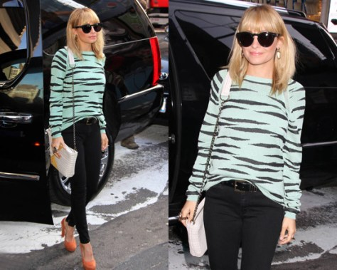 Nicole Richie in Proenza Schouler Tiger-Print Sweater