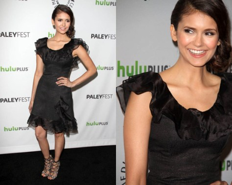 Nina Dobrev in Rachel Zoe Kiki Ruffle Dress
