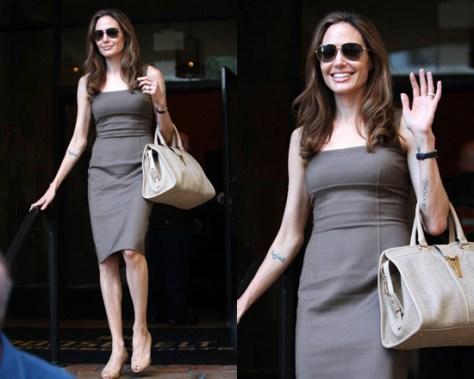 Angelina Jolie in Michael Kors Stretch Crepe Sheath Dress
