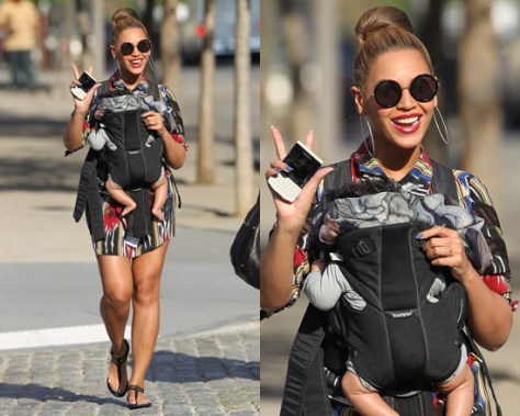 Beyonce takes Blue Ivy to Central Park wearing Thakoon Ikat Lace Shirtdress