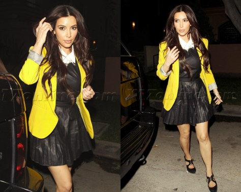 Kim Kardashian in Shakuhachi Pleated Leather Dress