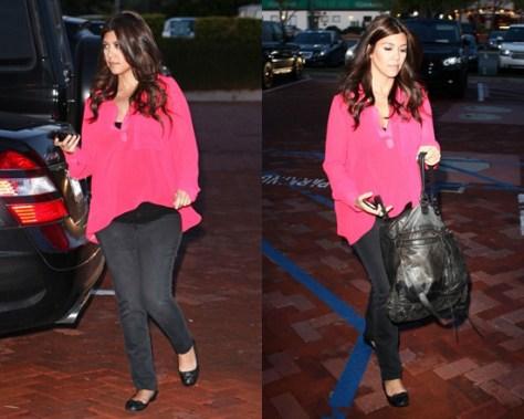 Kourtney Kardashian wearing Rory Beca Jacob Trapeze Blouse