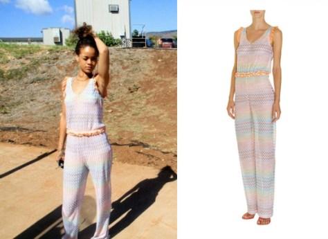 Rihanna vacationing in Hawaii wearing Missoni Formosa Jumpsuit