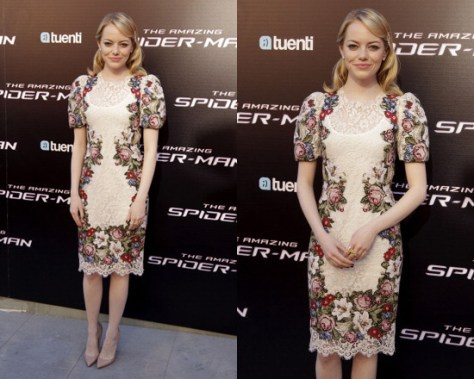 emma-stone-Dolce-Gabbana-Cotton-Lace-Wool-Cross-Stitched-Dress