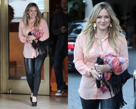 Hilary Duff just peachy in Equipment Slim Signature Blouse