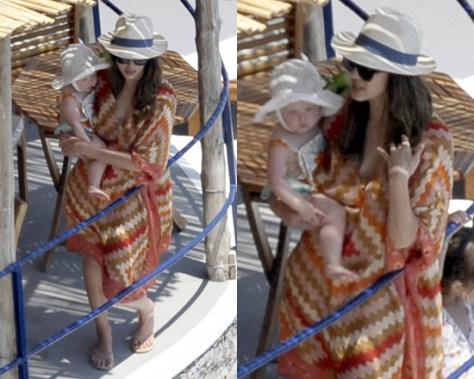 Jessica Alba wearing Theodora & Callum Coral Serengeti Caftan in Italy
