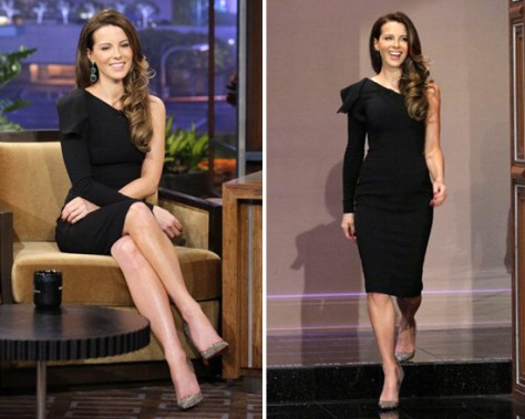 Kate Beckinsale wears Elie Saab One-Sleeve Dress on The Tonight Show