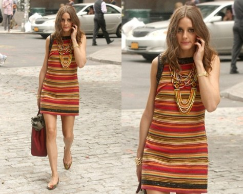 Olivia Palermo in Free People Tapestry Cotton Shift Dress