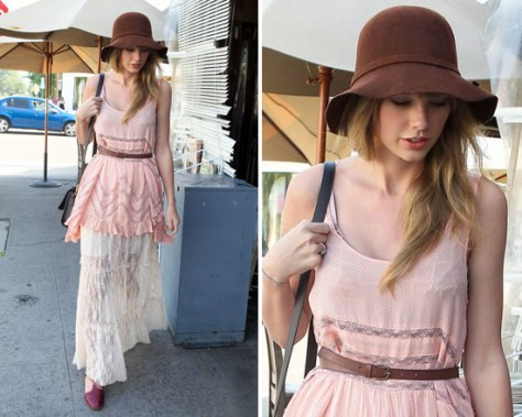 Taylor Swift steps out in Free People Voile and Lace Trapeze Slip