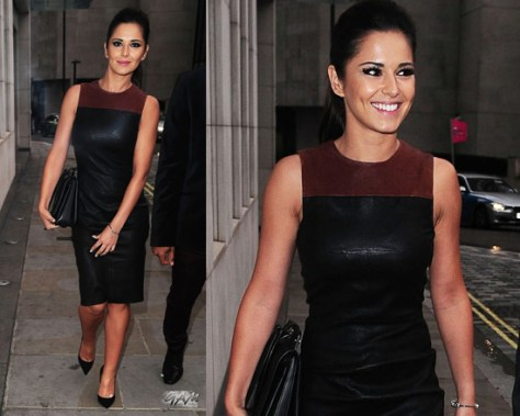 cheryl-cole-A.L.C.-Mika-Leather-Dress-black-cognac