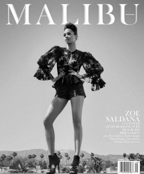 Zoe Saldana in Alexander McQueen Floral Lace Blouse on Malibu Cover