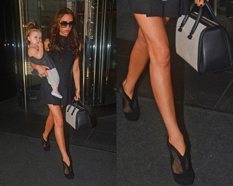 Victoria Beckham in Open Back Dress and Azzedine Alaia Shoe Boots