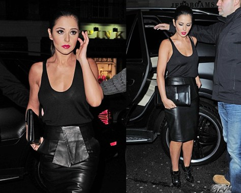 Cheryl Cole in Balenciaga Leather Kimono Tie Pencil Skirt