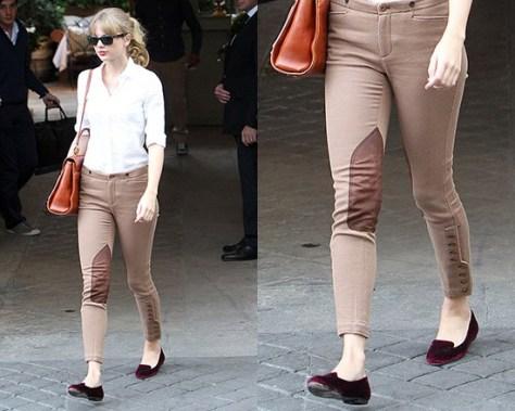 Taylor Swift steps out in Ralph Lauren Stretch Twill Jodhpur Pants