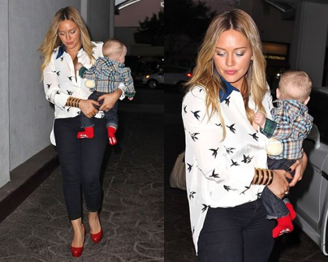 Hilary Duff steps out in Tibi Bird Print Silk Blouse and Christian Louboutin Bianca Pumps