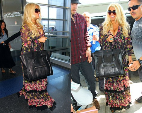 Jessica Simpson in Jean Paul Gaultier Fuzzi Patchwork Print Tulle Maxi Dress