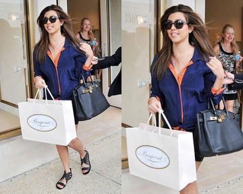 Kourtney Kardashian in Greylin Buena B-Color Tie Front Shirt