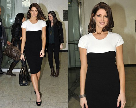 Ashley Greene in Narciso Rodriguez Cap Sleeve Colorblock Dress