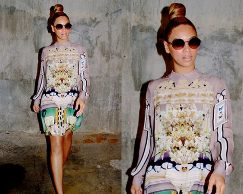 Beyoncé in Mary Katrantzou Interior chandelier-print dress