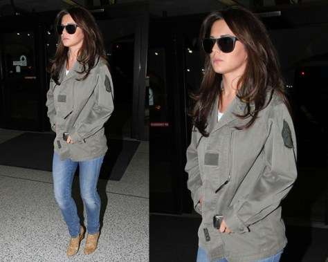 Cheryl Cole steps out in Barneys New York Co-op Vintage Button Front Army Jacket