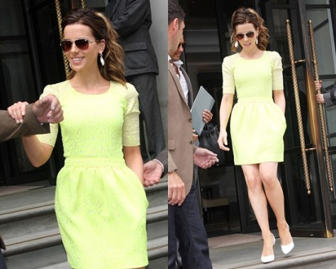 Kate Beckinsale in Preen Sara Leopard-Patterned Crepe-Brocade Dress