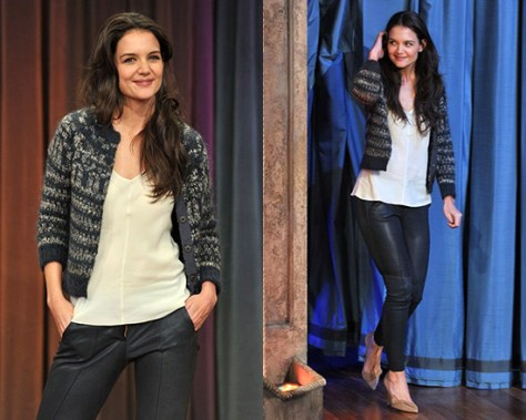Katie Holmes on Jimmy Fallon in Isabel Marant Étoile knit cardigan