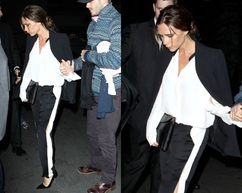 Victoria Beckham in Lanvin Silk Crepe De Chine Shirt and Jogging Pants