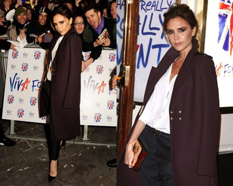 Victoria Beckham Merlot Wool-twill Coat in Maroon