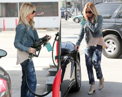 Ashley Tisdale in We The Free Denim Motorcycle Jacket