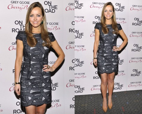 Nicole Lapin in Robert Rodriguez Cap Sleeve Swirl Mini Dress