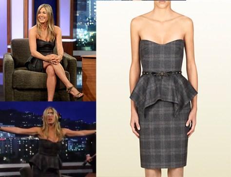 Jennifer Aniston wears Gucci Belted Strapless Dress on Jimmy Kimmel