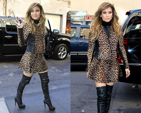 Jennifer Lopez in A.L.C. Leopard Print Leather Jacket & Skirt
