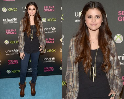 Selena Gomez wearing Rails Avery Leather Pocket Button Down Top