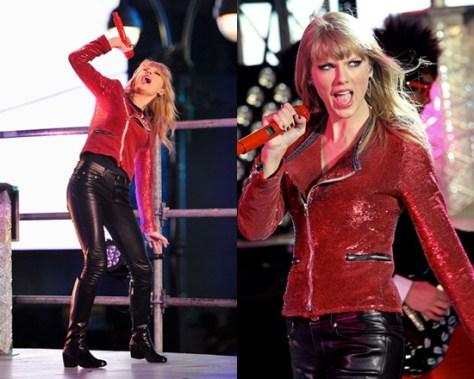 Taylor Swift wears Iro Longina Sequin Moto Jacket during NYE Performance