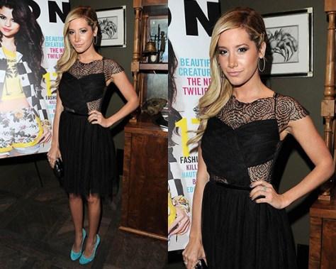 Ashley Tisdale wearing ASOS Skater Dress with Cobweb Lace