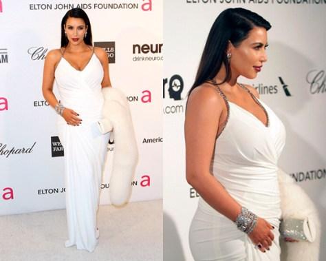 Kim Kardashian in Donna Karan Superfine Jersey Gown at Oscar 2013 Viewing Party