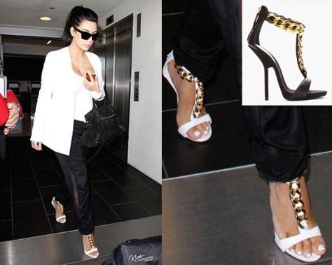 Kim Kardashian wearing Giuseppe Zanotti T Strap Chain Alien High Heels