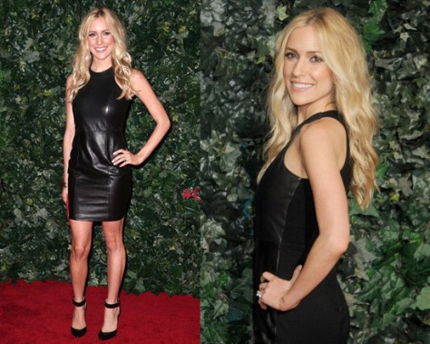 Kristin Cavallari in Mason by Michelle Mason Leather Front Tank Dress
