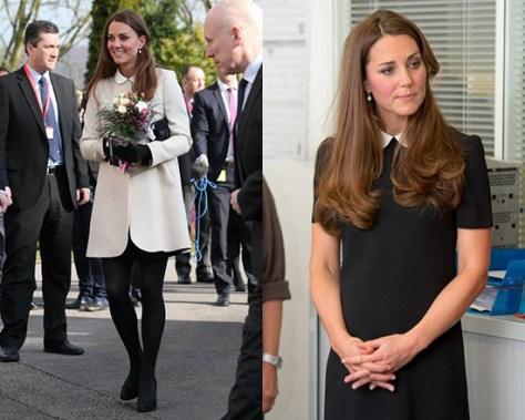 Kate Middleton wearing Goat Redgrave summer coat and Topshop Contrast Collar Shift Dress