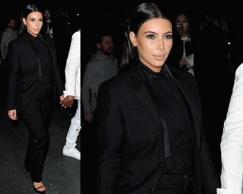 Kim Kardashian in Givenchy Silk Satin Viscose Stretch Cady Trousers