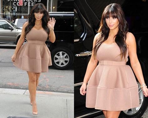 Kim Kardashian wearing Lanvin Honeycomb open-weave dress
