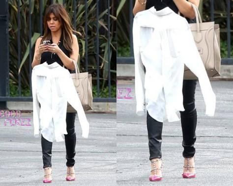 Kourtney Kardashian steps out in Fuchsia Valentino Rockstud Slingback Sandals
