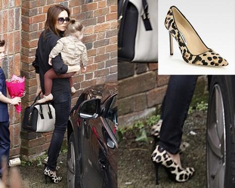 Victoria Beckham steps out in Manolo Blahnik BB Leopard-Print Pumps
