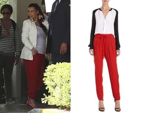 Kim Kardashian wearing A.L.C. Red York Trousers