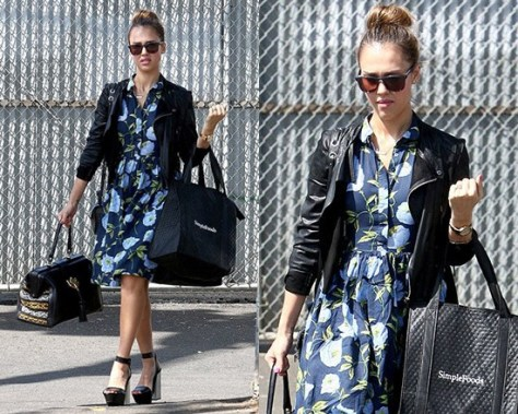 Jessica Alba in French Connection Spring Bloom Flared Shirt Dress
