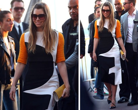 Jessica Biel wearing Roksanda Ilincic Brandt dress in Cannes
