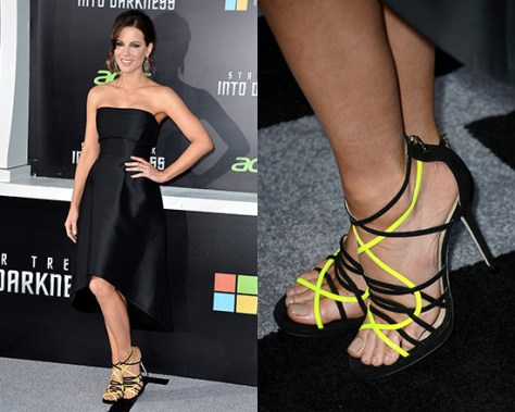 kate-beckinsale-Jimmy-Choo-black-yellow-Myth-Strappy-Suede-Sandal